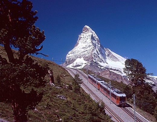 Stock Photo: 1597-34674 Switzerland, Europe, Gornergratbahn, Matterhorn, Zermatt, Canton Valais, Cog railway, Rail, Transport, Landscape, Moun