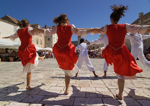 Croatia, Europe, Troupe of Jewish dancers, town, Hvar, Hvar Island, Dalmatia, Europe, troupe, Jewish, dancers, Hvar, i : Stock Photo