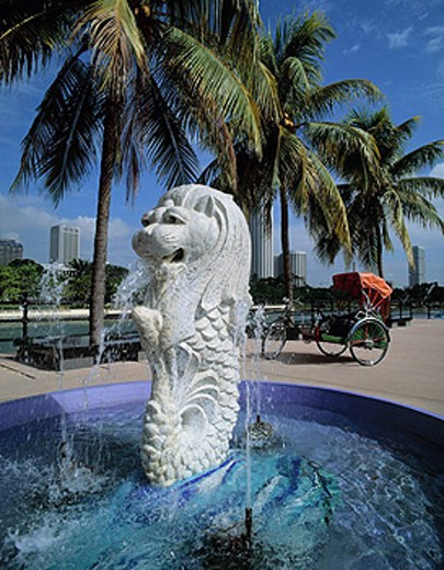 Stock Photo: 1597-35034 Singapore, Merlion Park, statue, Fountain, Asia, city, trishaw, palm trees, daytime, sculpture
