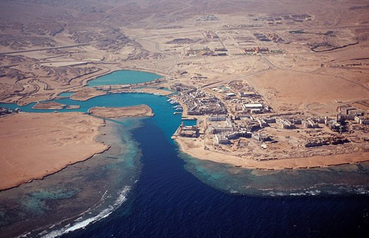 Port Ghalib, Egypt, North Africa, Red Sea, dry, brown, bay, harbor, port, ghalib, Marsa, Alam, tourism, aerial, view, : Stock Photo