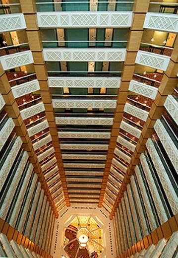 Qatar, Atrium, Ritz_Carlton Hotel Doha, Doha, Arabian Peninsula, eastern, oriental, Orient, Indoor, floors, architectu : Stock Photo