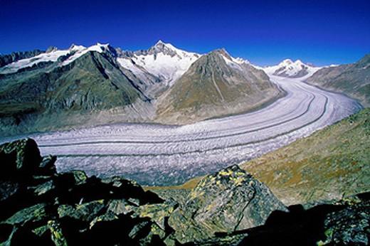 Switzerland, Europe, Aletsch Glacier, swiss alps, Aletschhorn, Fusshorner, View, from Eggishorn, Oberwallis, Canton Va : Stock Photo
