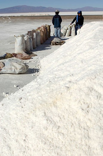 Argentina, South America, Salt works, two, persons, worker, men, bags, industry, saline, Salinas Grandes, Tres Morros, Salt Flats, Jujuy, South America : Stock Photo
