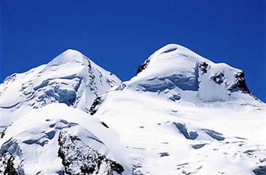 Switzerland, Europe, Castor and Pollux, near Zermatt, Canton Valais, Alps, Europe, Snow, Landscape, Mountain, Mountain : Stock Photo