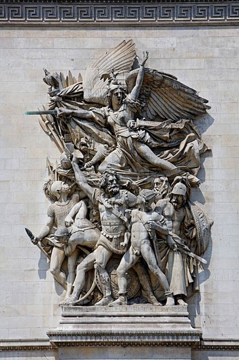 France, Europe, Paris, city, Arc de Triomphe, Triumphal arch, Detail, Relief, by François Rude, Departure of the Volun : Stock Photo
