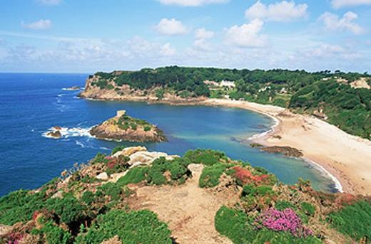 Channel Islands, Island of Jersey, Portelet Bay, Coast, Coastal, Coastline, Sea, Tower, Tourism, Travel, Holiday, Vaca : Stock Photo