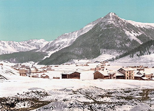 Switzerland, Europe, Davos, Dorfli, village, Seehorn mountain, winter, Canton Grisons, Graubunden, snow, mountains, al : Stock Photo