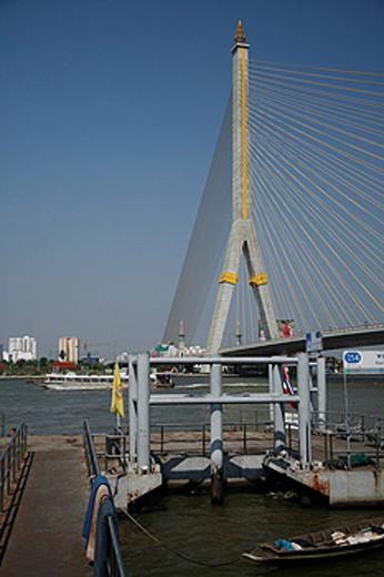 Thailand, Asia, Bangkok, Rama VIII Bridge, cable, bridge, Chao Phraya River, Southeast Asia, opened 2002, modern, town : Stock Photo