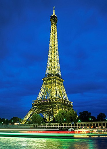 France, Europe, Paris city, town, Eiffel Tower, July 2007, Europe, illuminated, illumination, at night, landmark : Stock Photo