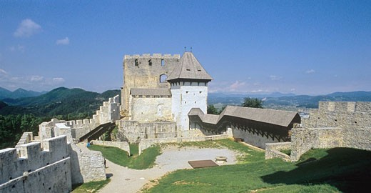 Slovenia, Celje city, view, castle, Europe, old architecture, town, Celje, historic, hill, mountain, landscape, fort, : Stock Photo