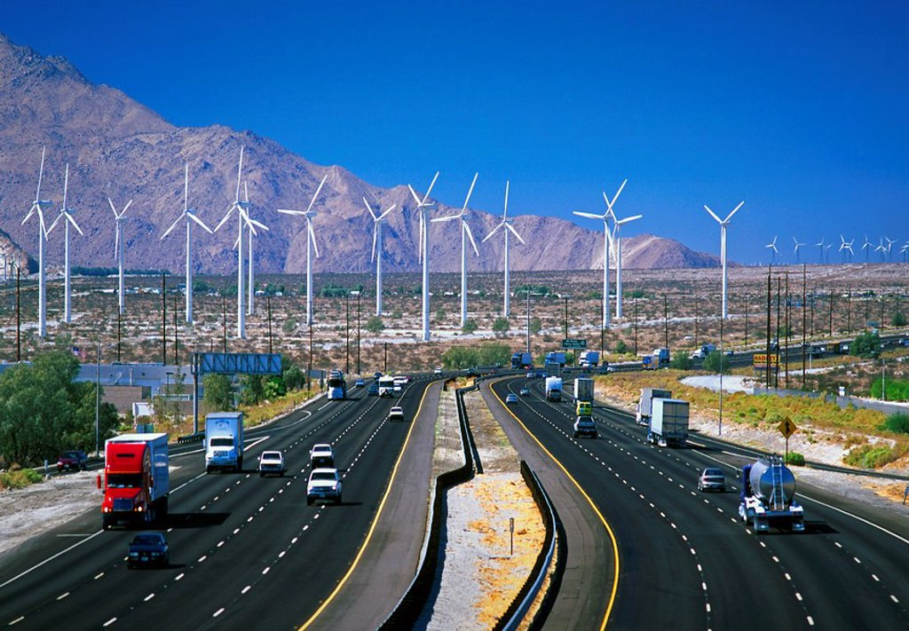 Stock Photo: 1597-42550 USA, America, United States, North America, California, San Gorgonio Pass wind farm, Near Palm Springs City, Interstat