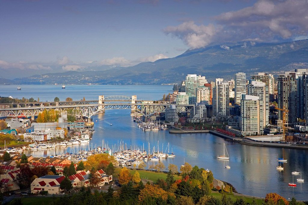 Stock Photo: 1597-42660 Canada, North America, America, Vancouver City, British Columbia, False Creek, Downtown, North America, skyline, skysc