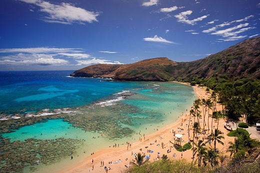 USA, America, United States, North America, Hawaii State, Honolulu City, Oahu Island, Hanauma Bay, volcanic, crater, O : Stock Photo