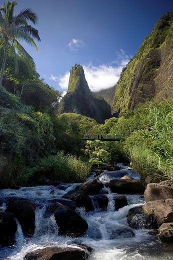 USA, America, United States, North America, Hawaii State, Maui Island, Iao Valley, State Park, Iao Needle, October 200 : Stock Photo