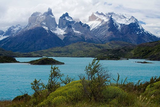 Chile, South America, Lago Pehoe, Cuernos del Paine, national park, Torres del Paine, South America, America, mountain : Stock Photo
