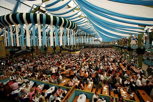 Munich, Oktoberfest, Germany, Europe, Munchen, Bavaria, Tradition, Traditional, Beer tent, inside, Indoor, Amusement, : Stock Photo