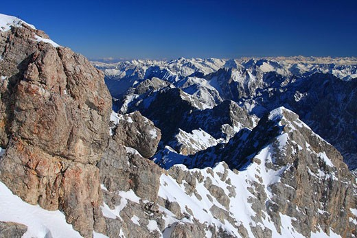 Germany, Europe, Alps, Bavaria, View, from Zugspitze, Winter, Landscape, Scenic, scenery, landscape, Panorama, Panoram : Stock Photo
