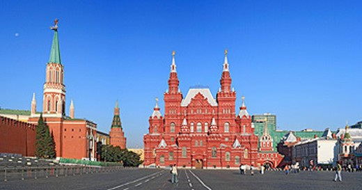 Stock Photo: 1597-44599 Russia, Moscow, State History museum, Russian, Architecture, Building, Red square, Kremlin, Tower, blue sky, tourist,
