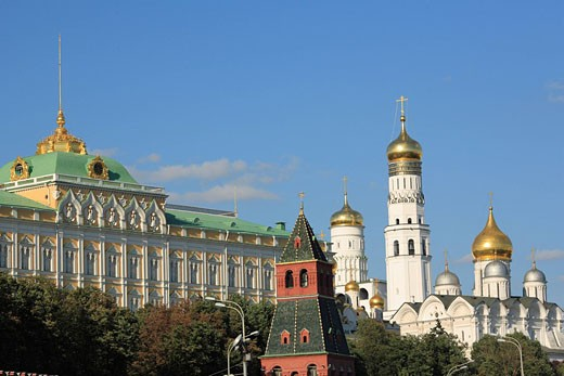 Moscow, Russia, Kremlin, Moskva river, Russian, Architecture, Building, Moscow, blue sky, embankment, tourist, City, T : Stock Photo