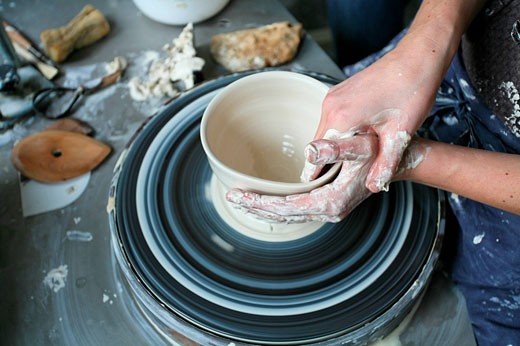 Pottery, Ceramic, Potteries, Creativ, Hands, Woman, Shaping, Wheel, Handwork, Work, Working, Female potter : Stock Photo
