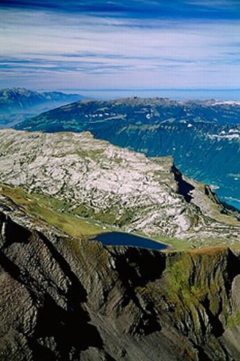 canton Bern, Bernese Oberland, mountains, alpine, Alps, Switzerland, Europe, Brienzersee, lake, sea, decayed horn, p : Stock Photo