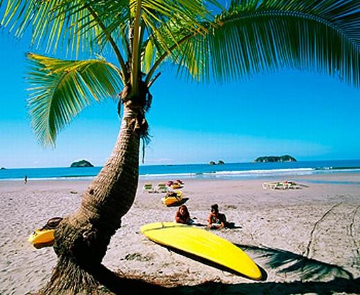 Costa Rica, Central America, Central America, women, coast, Manuel Antonio, national park, palm, Pacific coast, beac : Stock Photo