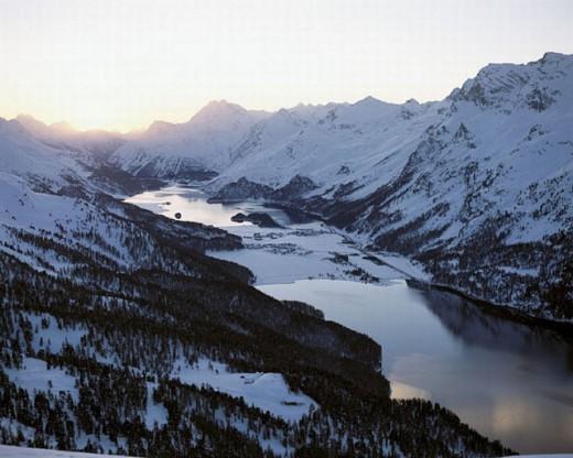dusk, twilight, villages, Engadine, Graubünden, Grisons, Silvaplana, Oberengadin, Switzerland, Europe, Alps, mountai : Stock Photo