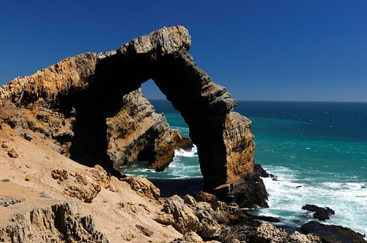 Prohibited area, Lüderitz, Karas Region, Namibia, Africa, coast, sea, ocean, rock, rocky, rocks, natural arch, erosion, shore, nature : Stock Photo
