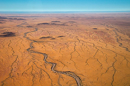 Aerial view, Skeleton Coast National Park, Kunene Region, Namibia, Africa, landscape, scenery, desert, arid, dry, river : Stock Photo