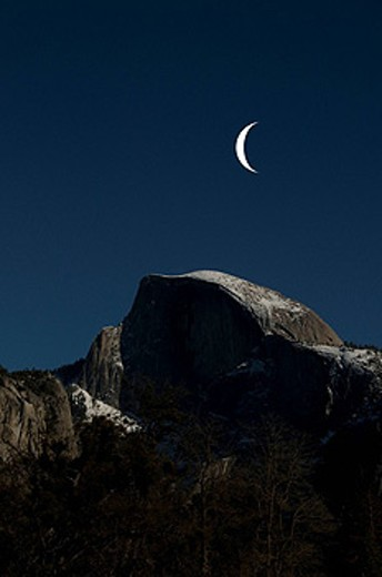 Half Dome, Winter, snow, Yosemite National park, USA, North America, California, 2009, mountain, mountains, landscape, scenery, nature, moon, twilight : Stock Photo