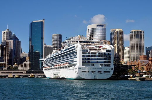 Stock Photo: 1597-59653 Diamond Princess, Sunny, Vacation, Holidays, Ship, Sydney, Nsw, Circular Quay, Tourism, Tourist, Travel, Travelling, Tour, Princess, Diamond, Luxury, Liner, Cruise, Port, Harbor, Harbour, Australia, City, Town