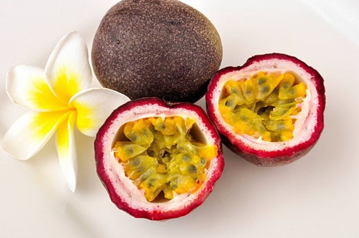 Stock Photo: 1597-59684 Passion fruit, Vitamins, Nature, Mango, Tropical, Healthy, Sweet, Sliced, Food, sliced