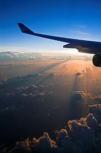 Tahiti, Flying above the Society Islands : Stock Photo