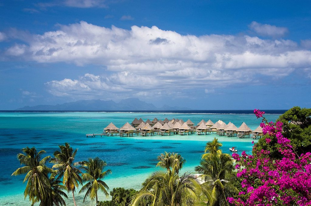 Stock Photo: 1597-60379 Tahiti, Society Islands, Bora Bora Island, Huts at Matira