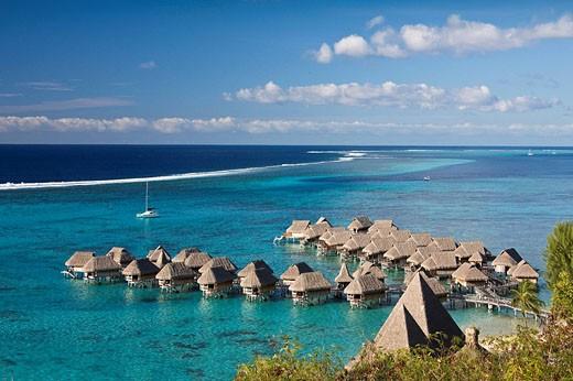 Tahiti, Moorea Island, Society Islands, Huts at Sofitel resort : Stock Photo