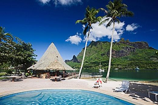 Stock Photo: 1597-60431 Tahiti, Moorea Island, Society Islands, Pool at Bali Hai Club