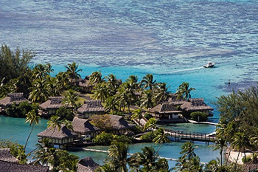Stock Photo: 1597-60438 Tahiti, Moorea Island, Society Islands, Huts, Intercontinental Resort