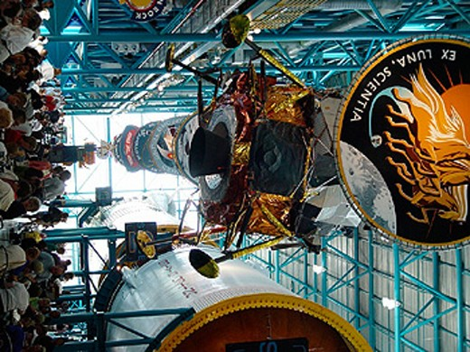 Apollo Saturn V, visitor, cape Canaveral, centre, Florida, inside, Kennedy Space centre, person, lunar module, NASA, : Stock Photo