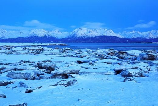 Stock Photo: 1597-61043 Kachemak Bay und Kenai Berge, Homer Spit, Homer,Kenai Halbinsel, Alaska, USA