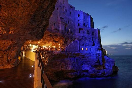 Italy, Europe, Polignano, Province of Bari, Apulia region, Coast, Sea, Water, Shore, Dusk, Night, Evening, Mediterrane : Stock Photo