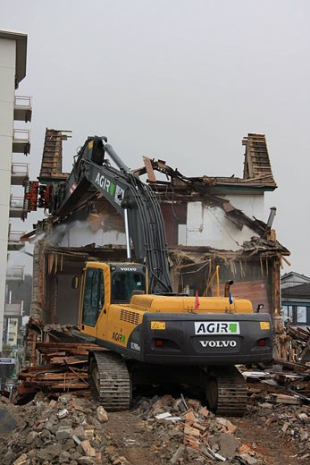Switzerland, Europe, Schlieren, Deconstruction, building, town, Schlieren, demolition, construction site, Excavator, m : Stock Photo