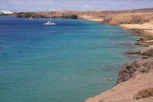 Stock Photo: 1597-62450 Lanzarote island, Spain, Europe, Canary islands, beach, seashore, El Papagayo, travel, volcanism, volcanic Landscape,
