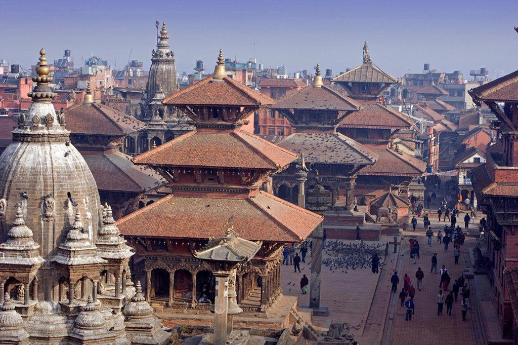 Nepal, Patan city, Kathmandu Valley, Lalitpur, Durbar Square, UNESCO, World heritage site, Asia, travel, January 2008, : Stock Photo
