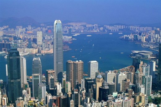 Stock Photo: 1597-63084 China, Asia, Hong Kong, Asia, Victoria Peak, View, from Peak, Victoria harbor, Harbor, Hong Kong harbor, Skyscrapers,