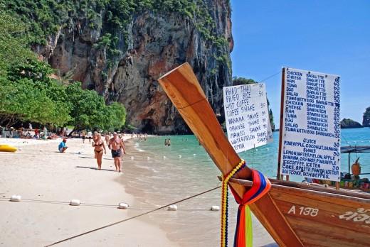 Ao Railay, Railay beach, Asia, Thailand, Karst mountains, climbing area, rock, Province of Krabi, rocks, blue sky, mou : Stock Photo