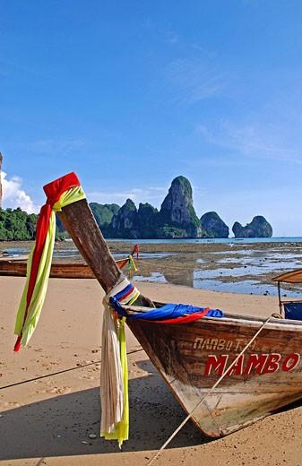 Stock Photo: 1597-63149 Ao Railay, Railay beach, Asia, Thailand, Karst mountains, rock, Province of Krabi, rocks, blue sky, mountain, limeston