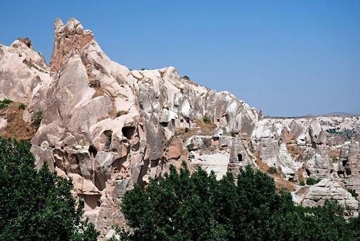 Goreme, Turkey, Anatolia, Asia, mountain village, mountain, mountains, earth pyramids, rocks, rock formation, rock nee : Stock Photo