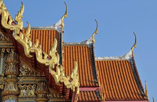 Stock Photo: 1597-63339 Thailand, Asia, Bangkok, Marble temple, roof, Wat Benchamabophit, Chofahs, Chofah, Sky Tassel, blue sky, decorative or