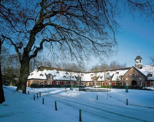 Stock Photo: 1597-6348  trees, buildings, constructions, Holland, Naarden, Netherlands, Noord Holland, snow, van Strengholt, winter,