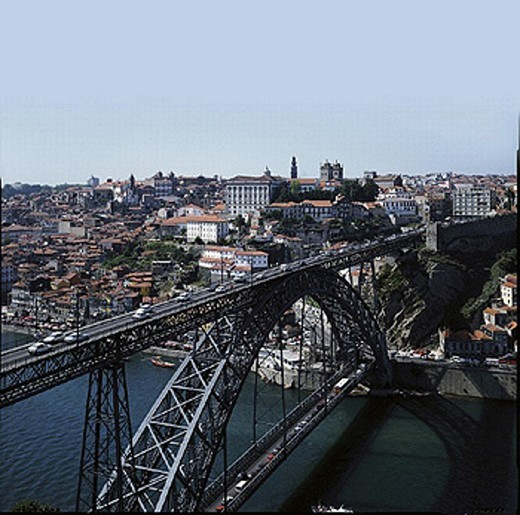 architecture, building, arched bridge, bridge, Douro Litoral, river, flow, Ponte de cathedral, dome, Luis I, Porto, : Stock Photo